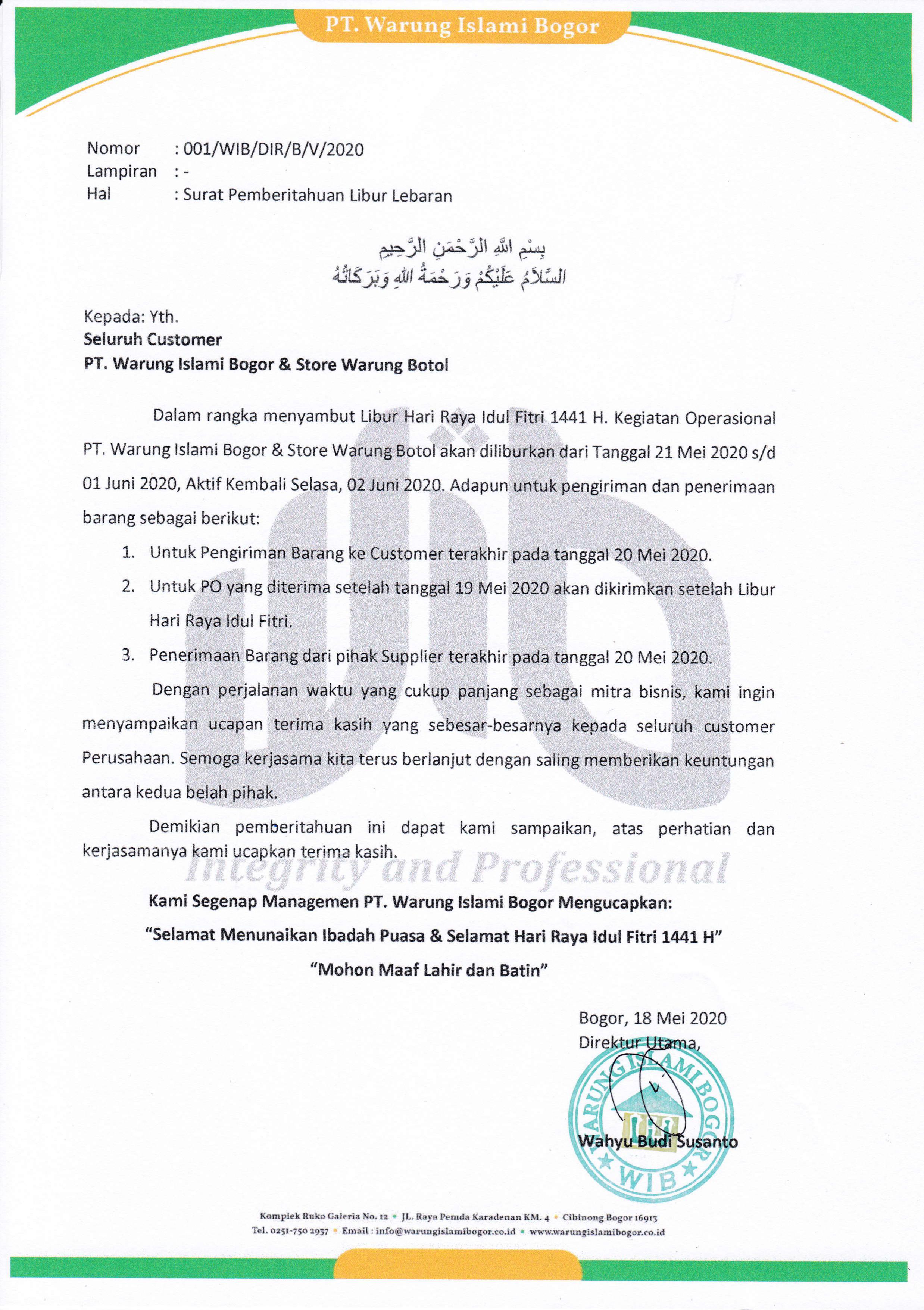 Informasi Libur Idul Fitri 1441 H